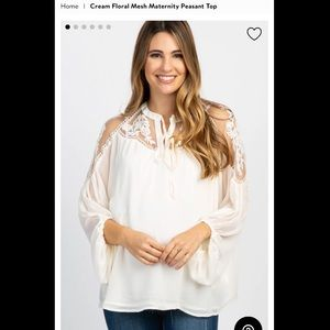Cream floral mesh maternity top